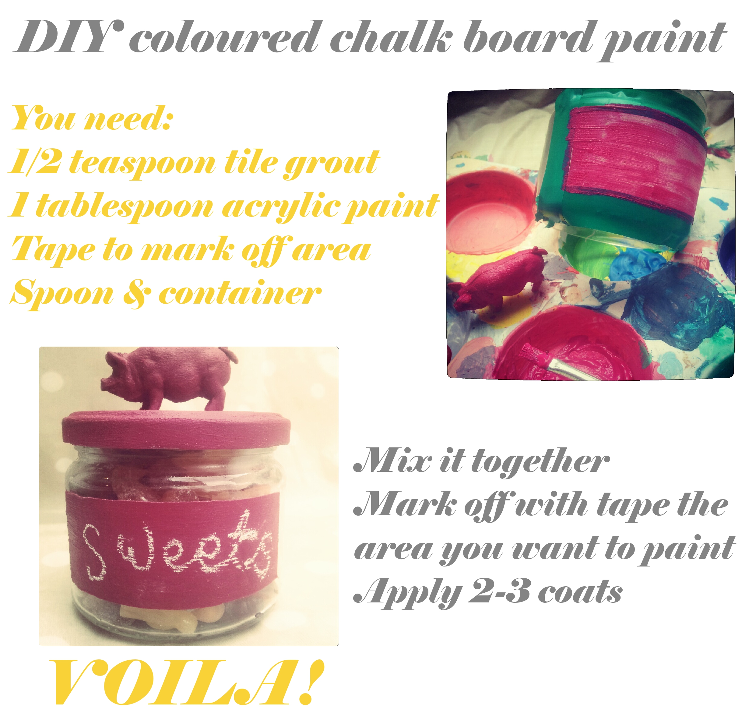Homemade Coloured Chalkboard Paint Lulastic And The